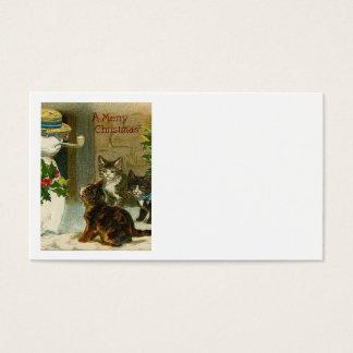 Trío y muñeco de nieve del gatito tarjeta de visita