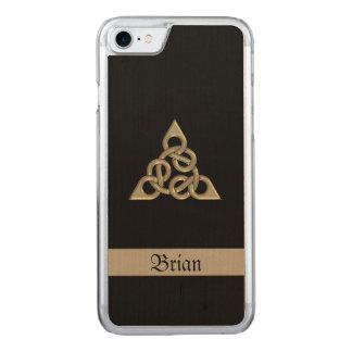 Triple céltico madera de ocho nudos funda para iPhone 8/7 de carved