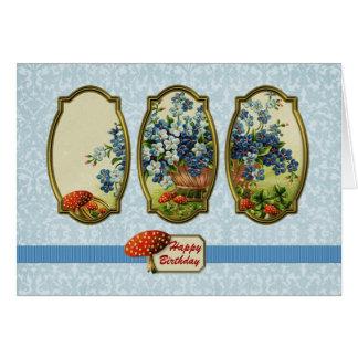 Tríptico azul de la flor tarjeta de felicitación