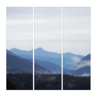 Tríptico Colinas y niebla azules