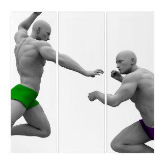 Tríptico Concepto de los artes marciales para luchar y la