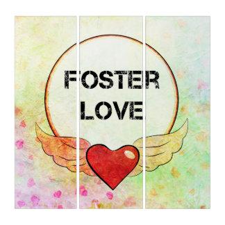 Tríptico Corazón adoptivo de la acuarela del amor