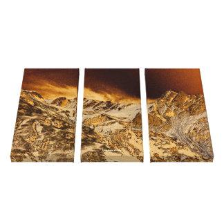 Tríptico de motivación del paisaje de las montañas lona envuelta para galerias