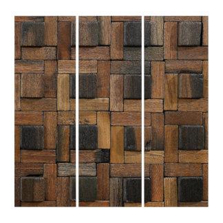 Tríptico Diseño geométrico de madera rústico