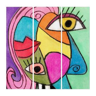 Tríptico Diversión peculiar de los labios de los ojos del