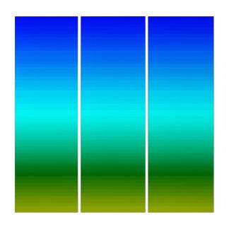 Tríptico Espectro de los colores azules para poner verde