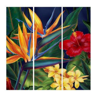Tríptico Floral hawaiano del paraíso tropical