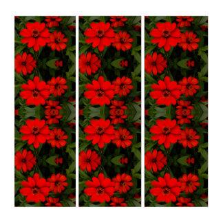 Tríptico Flores rojas