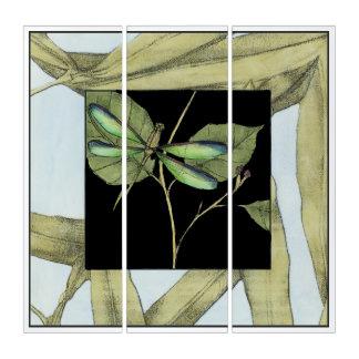 Tríptico Hojas con la inserción de la libélula de Jennifer