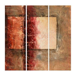 Tríptico Paisaje rojo abstracto