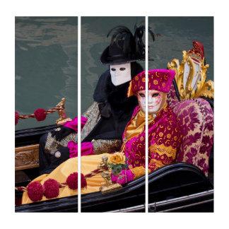 Tríptico Pares en la góndola en el carnaval, Venecia