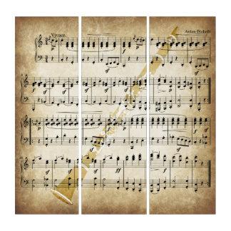 Tríptico Partitura del vintage con la capa del Clarinet