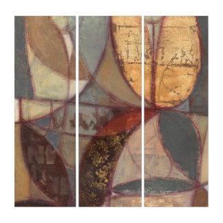 Tríptico Pintura abstracta de la hoja floral del normando
