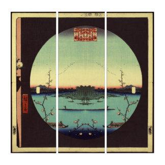 Tríptico Pintura antigua japonesa de Hiroshige