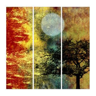 Tríptico Rojo y oro, luna y paisaje abstracto del árbol