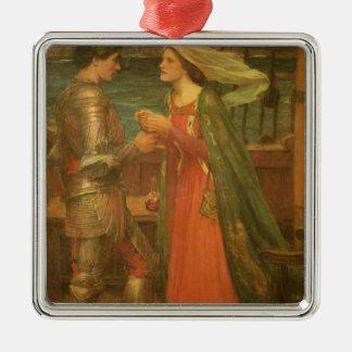 Tristan e Isolda por el Waterhouse, bella arte del Adorno Cuadrado Plateado