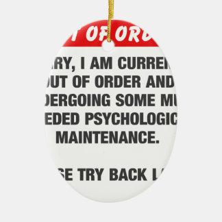 Triste estoy actualmente fuera de servicio adorno de cerámica