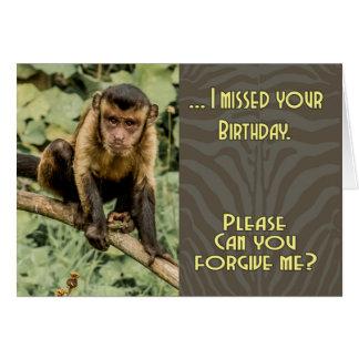 Triste falté su capuchón de mirada triste del tarjeta de felicitación