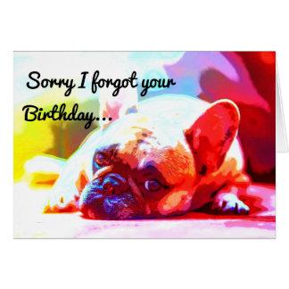 Triste olvidé su cumpleaños tarjeta de felicitación