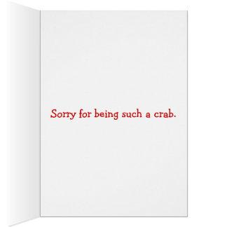 Triste para ser una tarjeta del cangrejo