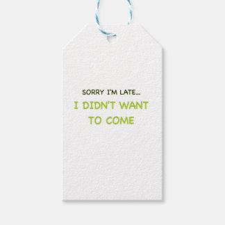 Triste soy atrasado etiquetas para regalos