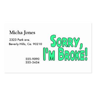 Triste soy me rompí plantillas de tarjetas personales