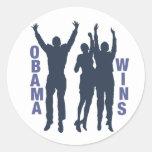 Triunfos de Obama Pegatina Redonda