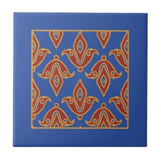 Trivet, Borgoña, azul, modelo de la flor de lis de Teja Ceramica