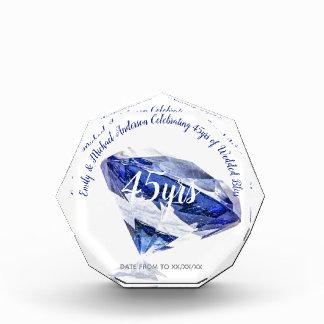 Trofeo Acrílico 45.o zafiro elegante del personalizado del