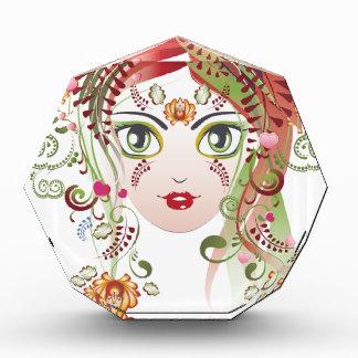 Trofeo Acrílico Cara floral 2 del chica