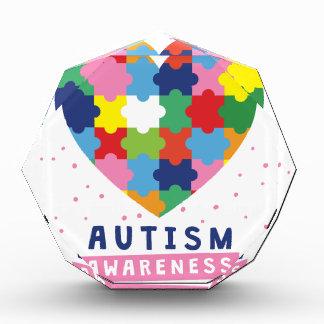 Trofeo Acrílico conciencia rosada del autismo