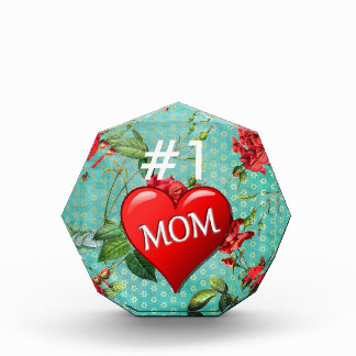 Trofeo Acrílico Corazón de la mamá #1 y verde de mar rojos de los