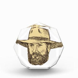 Trofeo Acrílico Dibujo barbudo de la cabeza del vaquero