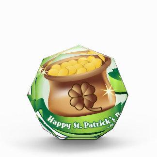 Trofeo Acrílico El día de St Patrick feliz, día de fiesta irlandés
