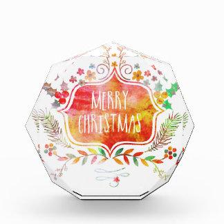 Trofeo Acrílico Felices Navidad retras de la acuarela