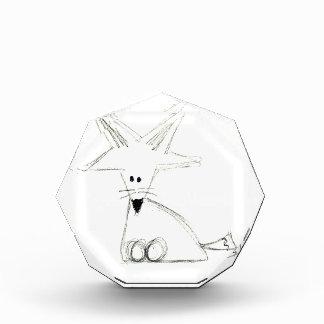 Trofeo Acrílico fox el dibujo simple gris blanco negro de los