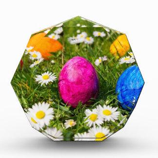 Trofeo Acrílico Huevos de Pascua pintados en hierba con las