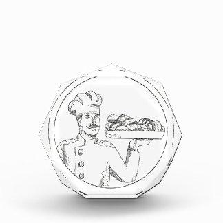 Trofeo Acrílico Panadero que sostiene el pan en arte del Doodle de