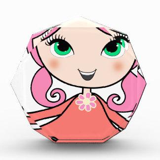 Trofeo Arte rosado del dibujo animado del chica del pelo
