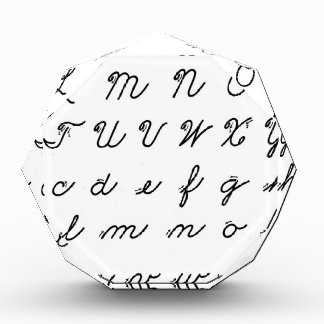 Trofeo carta cursiva de la escritura