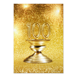 Trofeo centenario con los fuegos artificiales invitación 12,7 x 17,8 cm