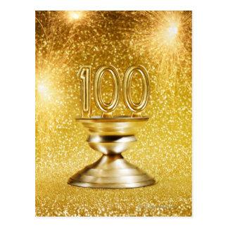 Trofeo centenario con los fuegos artificiales postal