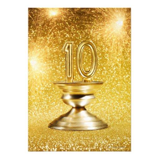 Trofeo del número 10 del oro comunicado