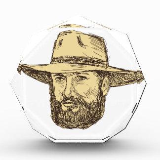 Trofeo Dibujo barbudo de la cabeza del vaquero