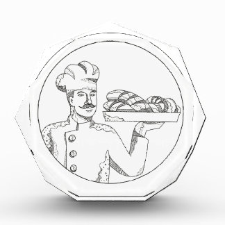 Trofeo Panadero que sostiene el pan en arte del Doodle de