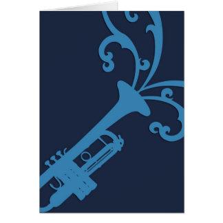 Trombone musical azul tarjeton
