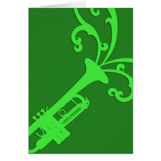 Trombone musical verde tarjeta de felicitación