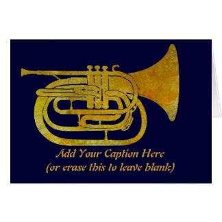 Trompa que marcha de oro tarjeta