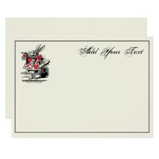 Trompetista blanco Alicia de la corte del conejo Invitación 12,7 X 17,8 Cm