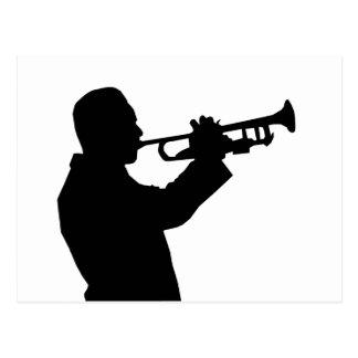 Trompetista, silueta del jugador de trompeta postal